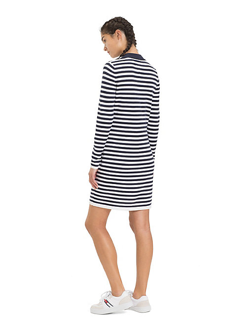 TOMMY JEANS Long Sleeve Stripe Dress - BLACK IRIS / CLASSIC WHITE - TOMMY JEANS Dresses - detail image 1