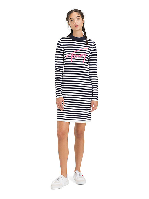 TOMMY JEANS Gestreiftes Langarm-Kleid - BLACK IRIS / CLASSIC WHITE - TOMMY JEANS Kleider - main image
