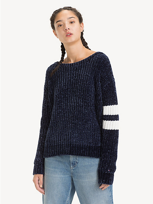 TOMMY JEANS V-Neck Back Strap Jumper - BLACK IRIS - TOMMY JEANS Knitwear - main image