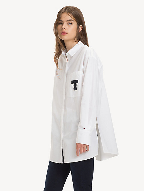 TOMMY JEANS Oversized Monogram Pocket Shirt - CLASSIC WHITE - TOMMY JEANS Tops - main image