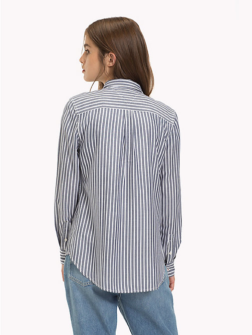 TOMMY JEANS Regular Fit Stripe Shirt - BLACK IRIS / CLASSIC WHITE - TOMMY JEANS Tops - detail image 1