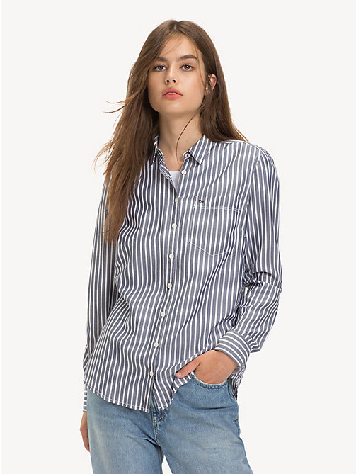 TOMMY JEANS Regular Fit Stripe Shirt - BLACK IRIS / CLASSIC WHITE - TOMMY JEANS Tops - main image
