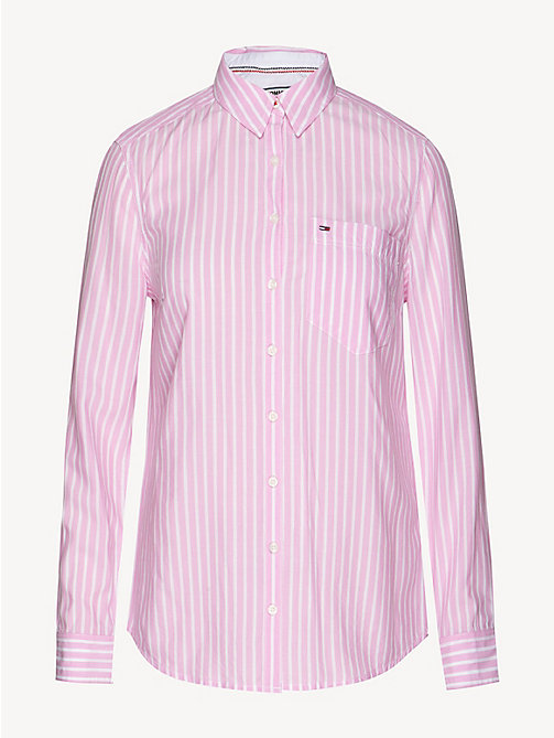TOMMY JEANS Regular Fit Stripe Shirt - LILAC CHIFFON / CLASSIC WHITE - TOMMY JEANS Tops - detail image 1