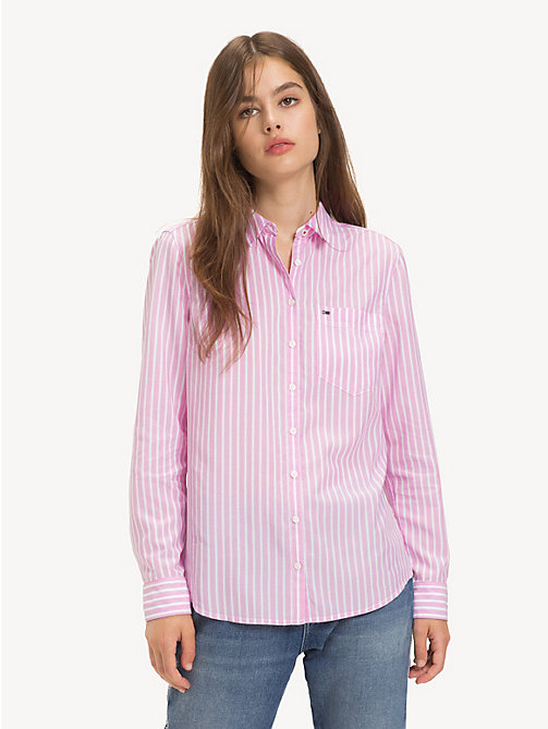 TOMMY JEANS Regular Fit Stripe Shirt - LILAC CHIFFON / CLASSIC WHITE - TOMMY JEANS Tops - main image