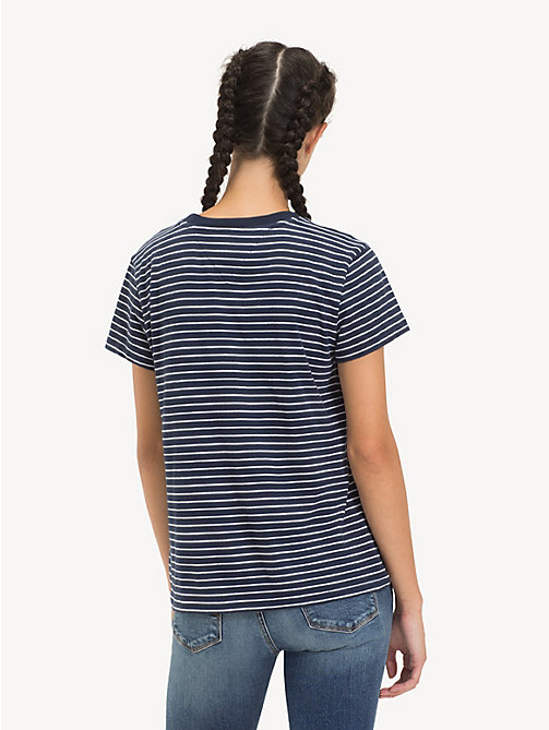 TOMMY JEANS Stripe Logo T-Shirt - BLACK IRIS / CLASSIC WHITE - TOMMY JEANS Tops - detail image 1