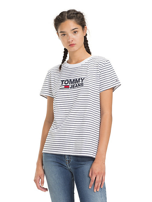 TOMMY JEANS Logo-T-Shirt mit Streifen - CLASSIC WHITE / BLACK IRIS - TOMMY JEANS Tops - main image