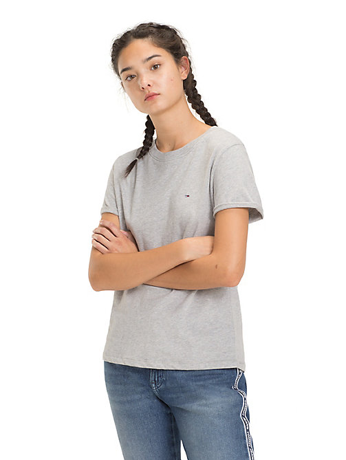 TOMMY JEANS Rolled Up Sleeve T-Shirt - LT GREY HTR - TOMMY JEANS Tops - main image