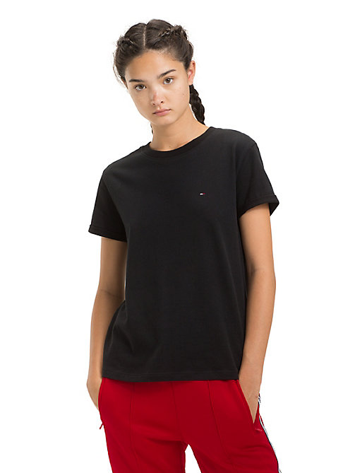 TOMMY JEANS Rolled Up Sleeve T-Shirt - TOMMY BLACK - TOMMY JEANS Tops - main image