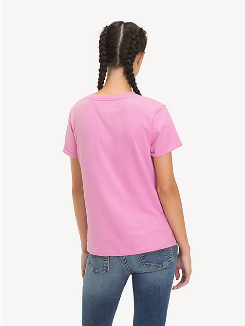 TOMMY JEANS Rolled Up Sleeve T-Shirt - LILAC CHIFFON - TOMMY JEANS Tops - detail image 1