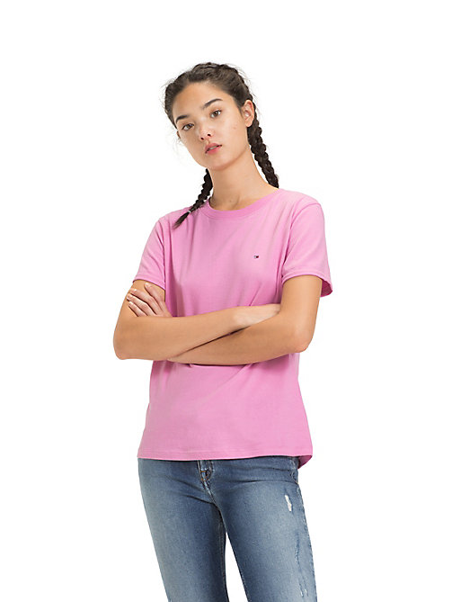 TOMMY JEANS Rolled Up Sleeve T-Shirt - LILAC CHIFFON - TOMMY JEANS Tops - main image