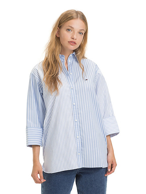 TOMMY JEANS Oversized Stripe Shirt - SERENITY / CLASSIC WHITE - TOMMY JEANS Tops - main image