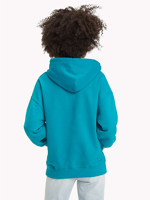 TOMMY JEANS Signature Cotton Fleece Hoodie - ENAMEL BLUE - TOMMY JEANS Signature Collection - detail image 1