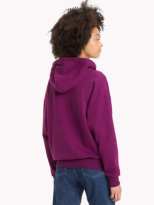 TOMMY JEANS Signature Cotton Fleece Hoodie - DARK PURPLE - TOMMY JEANS Sweatshirts & Hoodies - detail image 1