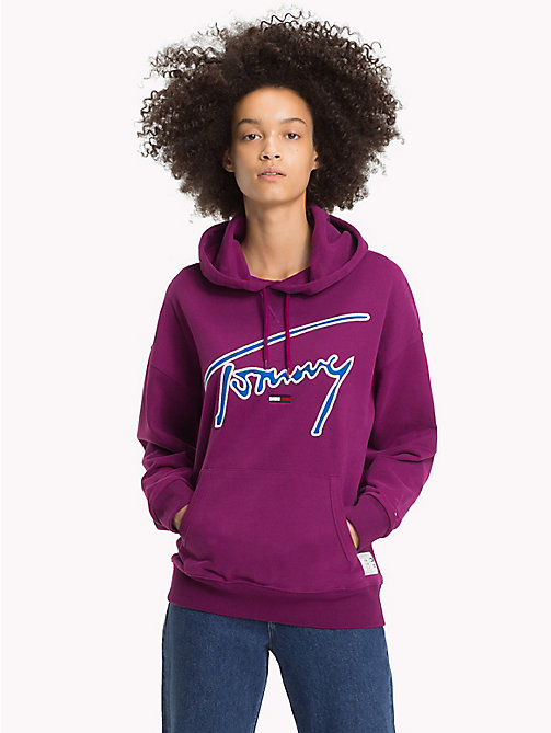 TOMMY JEANS Felpa iconica in cotone con cappuccio - DARK PURPLE - TOMMY JEANS Signature Collection - immagine principale