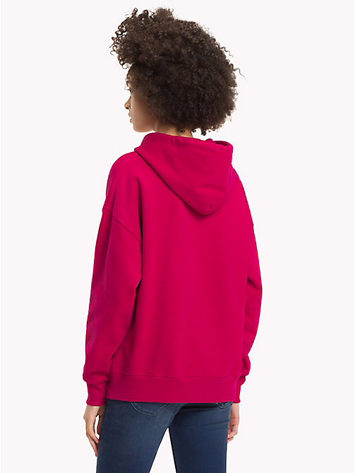 TOMMY JEANS Signature Cotton Fleece Hoodie - CERISE - TOMMY JEANS Signature Collection - detail image 1