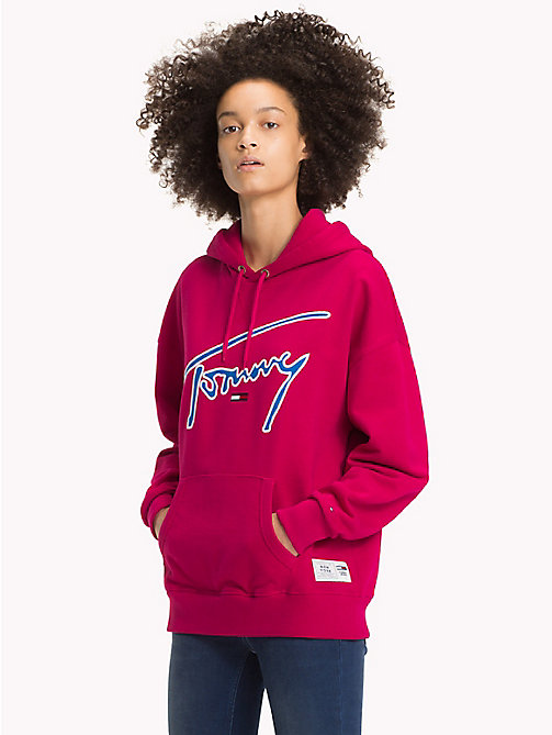 TOMMY JEANS Signature Cotton Fleece Hoodie - CERISE - TOMMY JEANS Signature Collection - main image