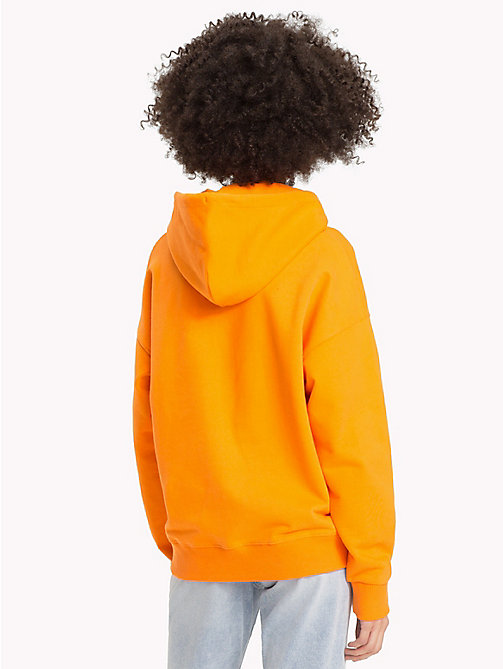 TOMMY JEANS Signature Cotton Fleece Hoodie - ORANGE PEEL - TOMMY JEANS Signature Collection - detail image 1