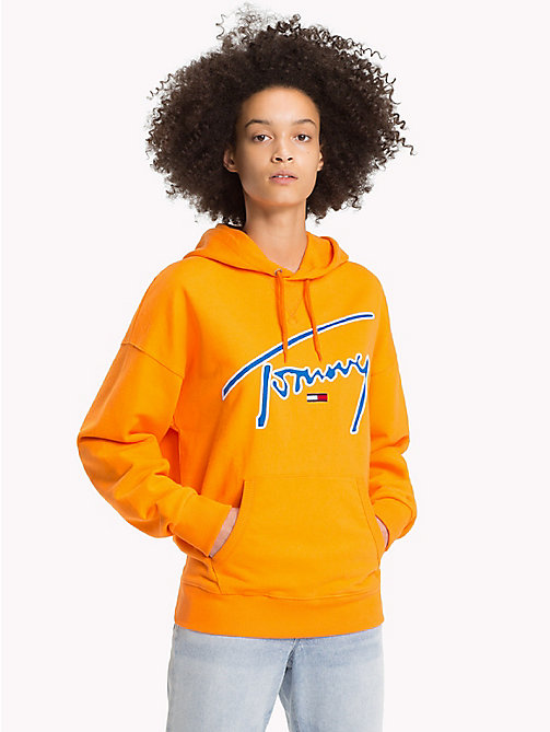 TOMMY JEANS Signature Cotton Fleece Hoodie - ORANGE PEEL - TOMMY JEANS Signature Collection - main image