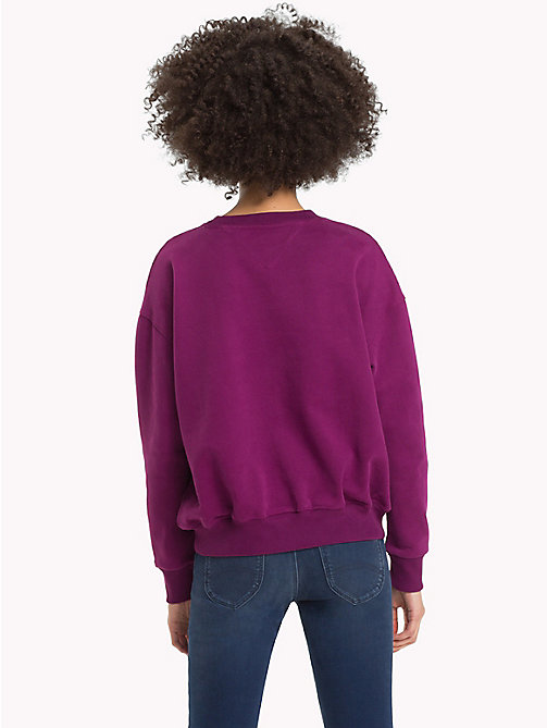 TOMMY JEANS Signature-sweatshirt met ronde hals - DARK PURPLE - TOMMY JEANS Signature Collection - detail image 1