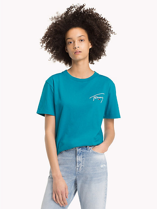 TOMMY JEANS Signature Crew Neck T-Shirt - ENAMEL BLUE - TOMMY JEANS Signature Collection - main image