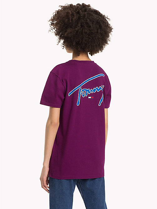 TOMMY JEANS Signature T-shirt met ronde hals - DARK PURPLE - TOMMY JEANS Signature Collection - detail image 1