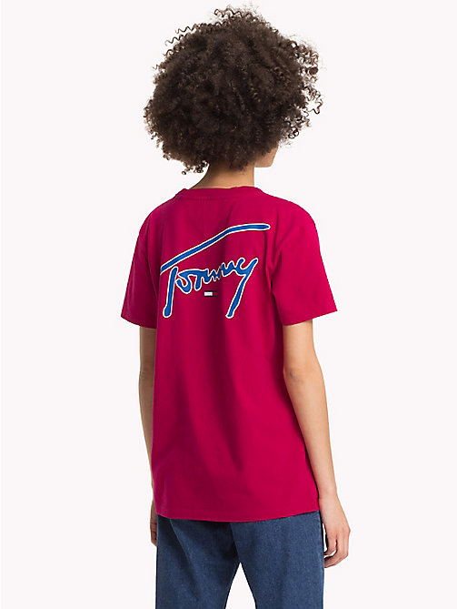 TOMMY JEANS Signature T-shirt met ronde hals - CERISE - TOMMY JEANS Signature Collection - detail image 1