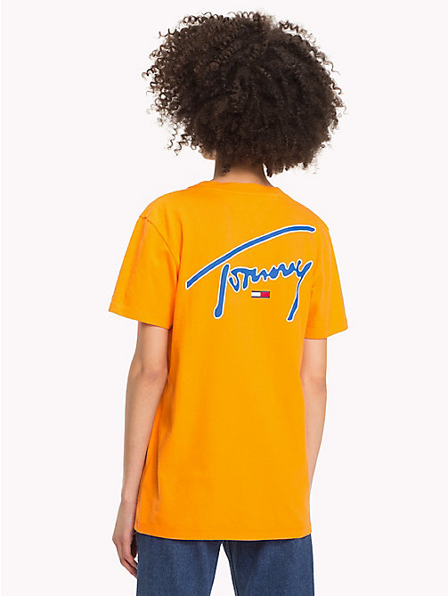 TOMMY JEANS Signature T-shirt met ronde hals - ORANGE PEEL - TOMMY JEANS Signature Collection - detail image 1