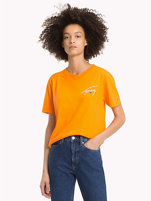 TOMMY JEANS Signature T-shirt met ronde hals - ORANGE PEEL - TOMMY JEANS Signature Collection - main image