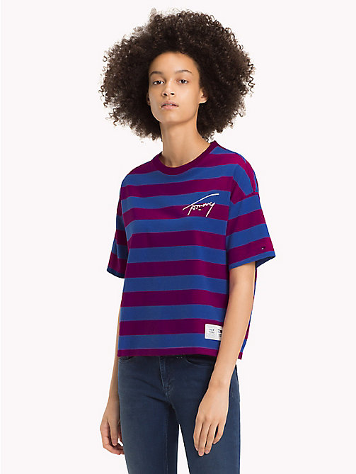TOMMY JEANS Signature T-shirt met strepen - DARK PURPLE / SURF THE WEB - TOMMY JEANS Signature Collection - main image