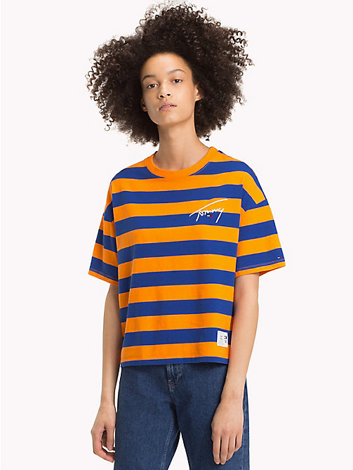 TOMMY JEANS Signature T-shirt met strepen - ORANGE PEEL / SURF THE WEB - TOMMY JEANS Signature Collection - main image