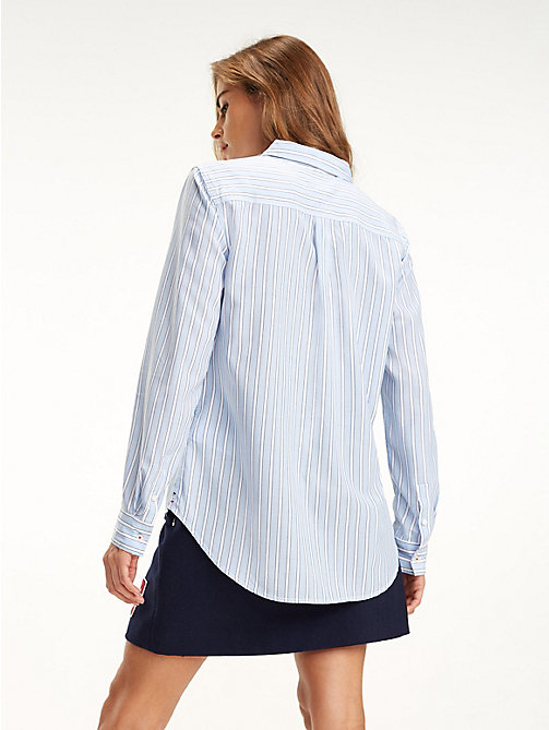 TOMMY JEANS Regular Fit Stripe Shirt - SERENITY BLUE / MULTI - TOMMY JEANS Tops - detail image 1