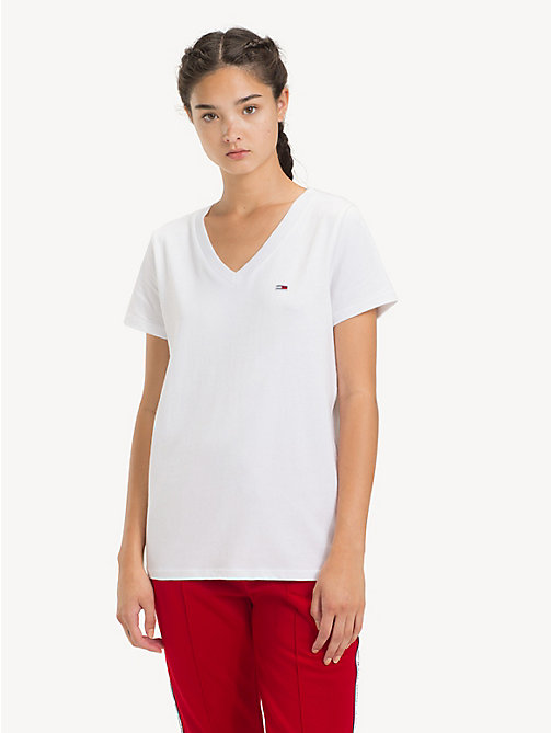 TOMMY JEANS T-shirt col en V Tommy Classics - CLASSIC WHITE - TOMMY JEANS Sustainable Evolution - image principale