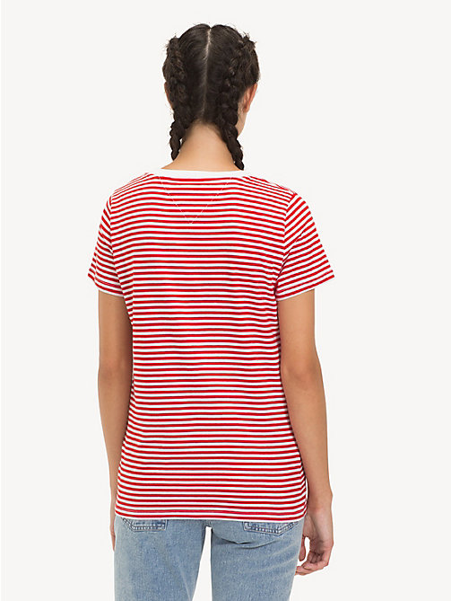 TOMMY JEANS Tommy Classics Stripe T-Shirt - FLAME SCARLET / CLASSIC WHITE - TOMMY JEANS Sustainable Evolution - detail image 1