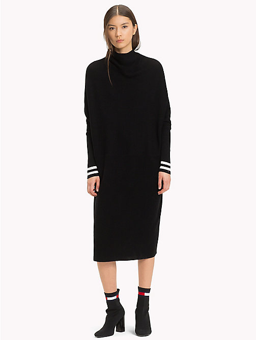 TOMMY JEANS Relaxed Fit Turtleneck Dress - TOMMY BLACK - TOMMY JEANS Midi - main image