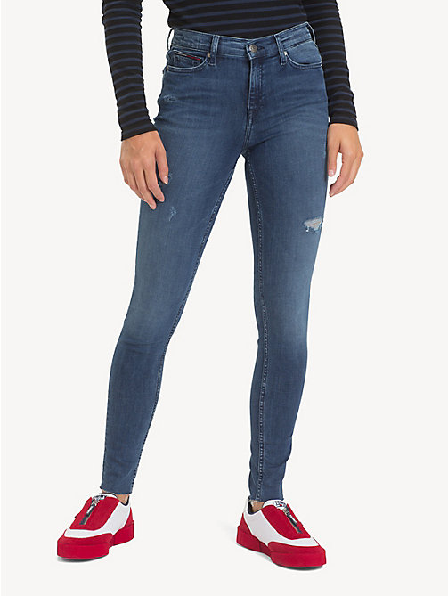 TOMMY JEANS Nora Distressed Skinny Jeans - ROCK MID BLUE STR - TOMMY JEANS Jeans - main image