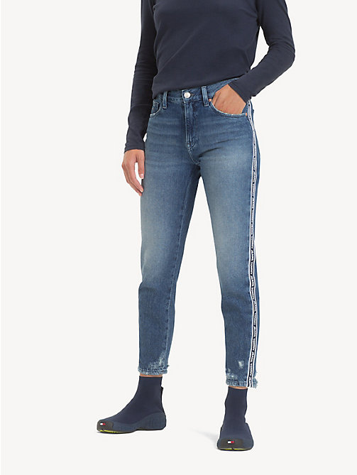 TOMMY JEANS Izzy Logo Tape Cropped Jeans - SYDNEY TAPE MD BL  R - TOMMY JEANS Jeans - main image