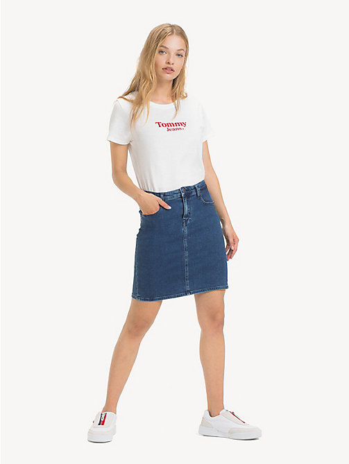 TOMMY JEANS Regular Fit Denim Skirt - OCTAVIA MID BLUE STR - TOMMY JEANS Trousers & Skirts - main image