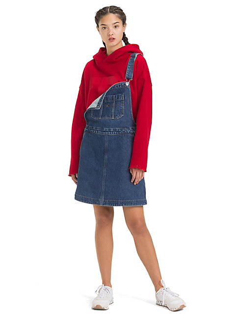 TOMMY JEANS A-Line Dungaree Dress - GOUGH MID BLUE RIG - TOMMY JEANS Dresses - main image