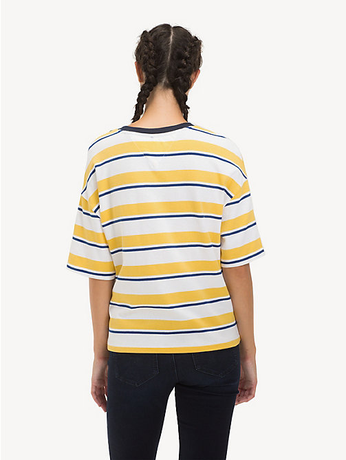 TOMMY JEANS Cropped Fit Stripe T-Shirt - ASPEN GOLD / MULTI - TOMMY JEANS Tops - detail image 1