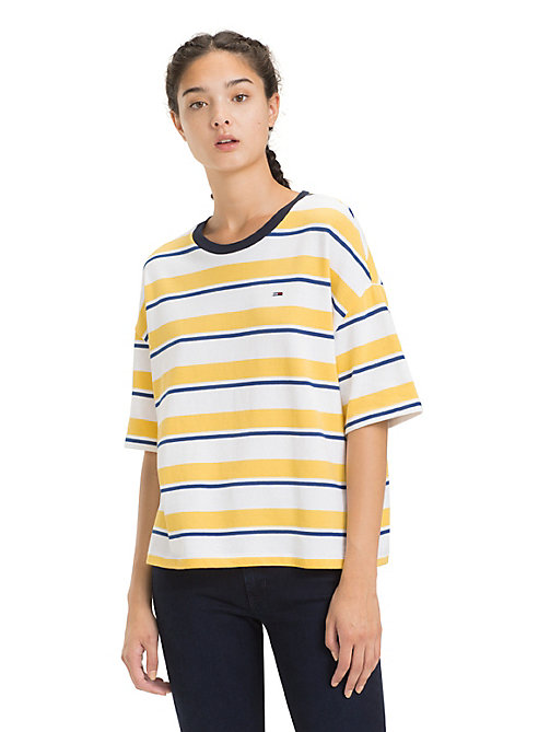 TOMMY JEANS Cropped Fit T-Shirt mit Streifen - ASPEN GOLD / MULTI - TOMMY JEANS Tops - main image