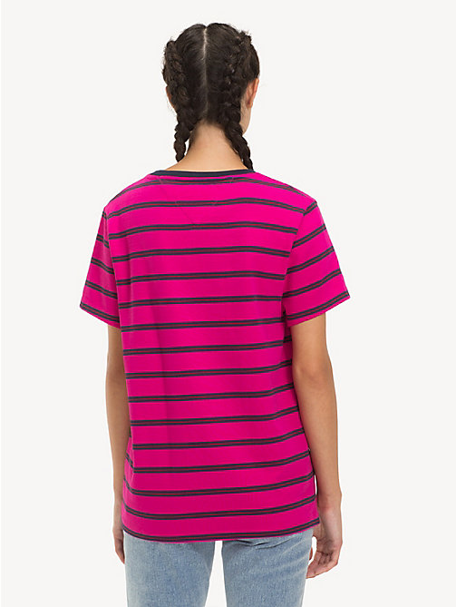TOMMY JEANS Stripe Boyfriend Fit T-Shirt - FUCHSIA PURPLE / MULTI - TOMMY JEANS Tops - detail image 1