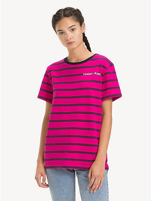 TOMMY JEANS Stripe Boyfriend Fit T-Shirt - FUCHSIA PURPLE / MULTI - TOMMY JEANS Tops - main image