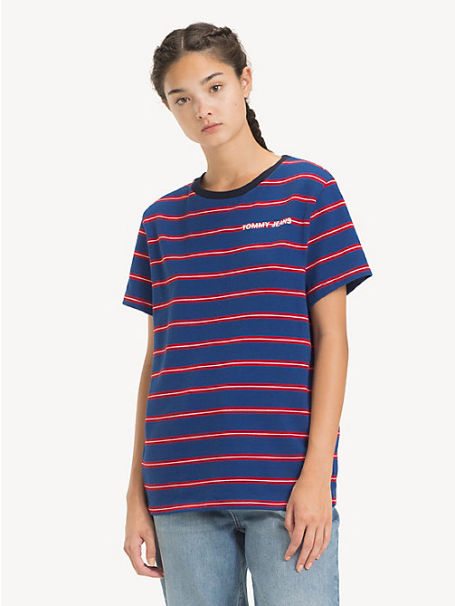 TOMMY JEANS Boyfriend Fit T-Shirt mit Streifen - LIMOGES / MULTI - TOMMY JEANS Tops - main image