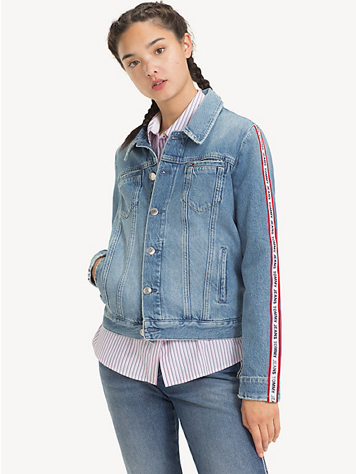 TOMMY JEANS Logo Tape Denim Jacket - SYDNEY TAPE LT BL R - TOMMY JEANS Coats & Jackets - main image