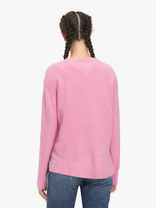 TOMMY JEANS Curved Hem Jumper - LILAC CHIFFON - TOMMY JEANS Knitwear - detail image 1