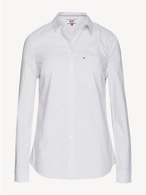 TOMMY JEANS Fitted Poplin Shirt - ASH / CLASSIC WHITE - TOMMY JEANS Tops - detail image 1