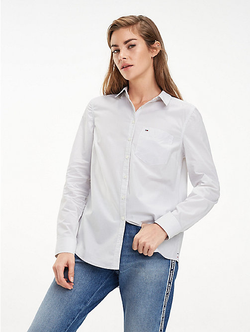 TOMMY JEANS Fitted Poplin Shirt - ASH / CLASSIC WHITE - TOMMY JEANS Tops - main image