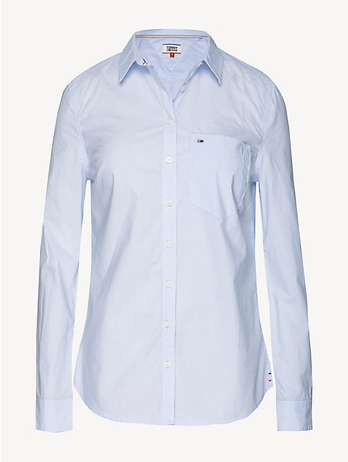 TOMMY JEANS Fitted Poplin Shirt - SERENITY / CLASSIC WHITE - TOMMY JEANS Tops - detail image 1