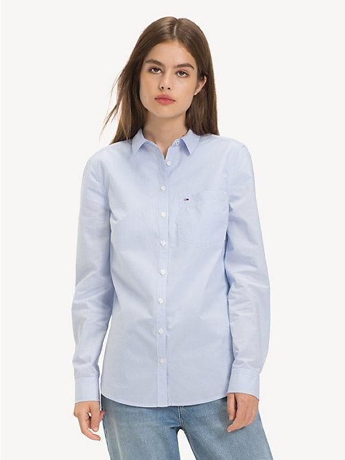 TOMMY JEANS Fitted Poplin Shirt - SERENITY / CLASSIC WHITE - TOMMY JEANS Tops - main image