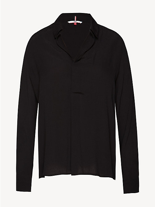 TOMMY JEANS Pleated Collar Blouse - TOMMY BLACK - TOMMY JEANS Tops - detail image 1